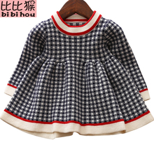 Girls Knitted Dress 2018 autumn winter Clothes Lattice Kids Toddler baby dress for girl princess Cotton warm Christmas Dresses