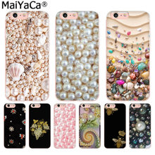 Maiyaca Bling Bros Mutiara Pola Mewah Fashion Ponsel Case untuk iPhone 8 7 6 6 S Plus X 10 5 5 S SE X XR X Max Coque Shell(China)
