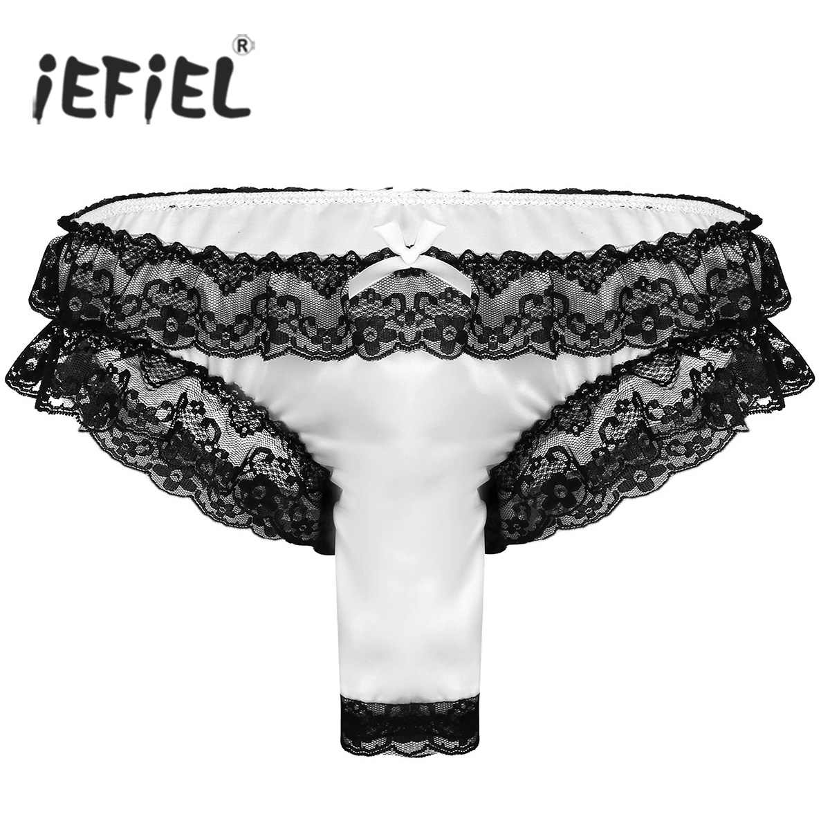 Mens Lingerie Underwear Soft Shiny Satin Lace High Cut Frilly Sexy Briefs Underwear Gay Sissy Panties for Male with Open Sheath