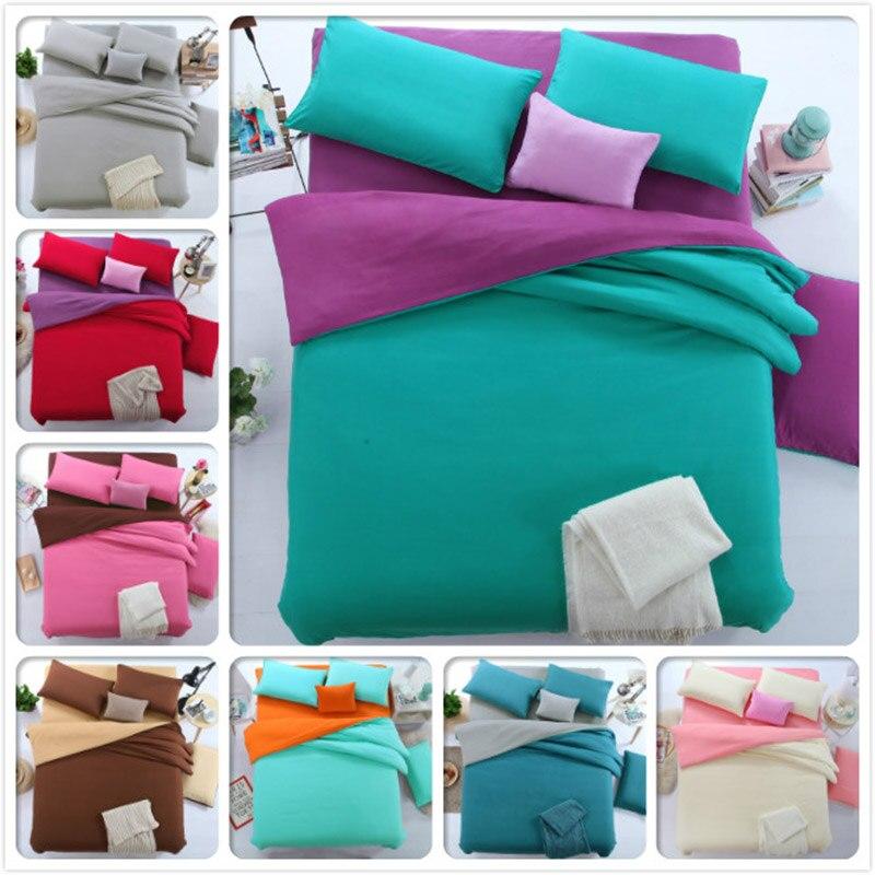 Plian Pure Color Bed Sheet 1.5m 1.8m 2.0m 2.2m Full King Queen Twin Single Double Size Duvet Cover Pillowcase 3pcs 4pcs Bedlinen