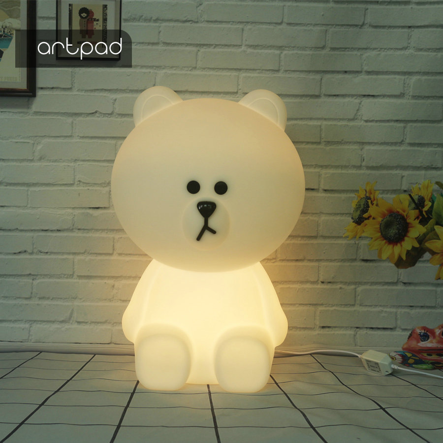 Artpad Teddy Bear Night Light Tabletop Lamp for Baby Children Kids Gift Animal Cartoon Bedside Bedroom Living Room Decorative decorative cartoon bear led night light silicone white bedside night lamp for children baby christmas birthday gift