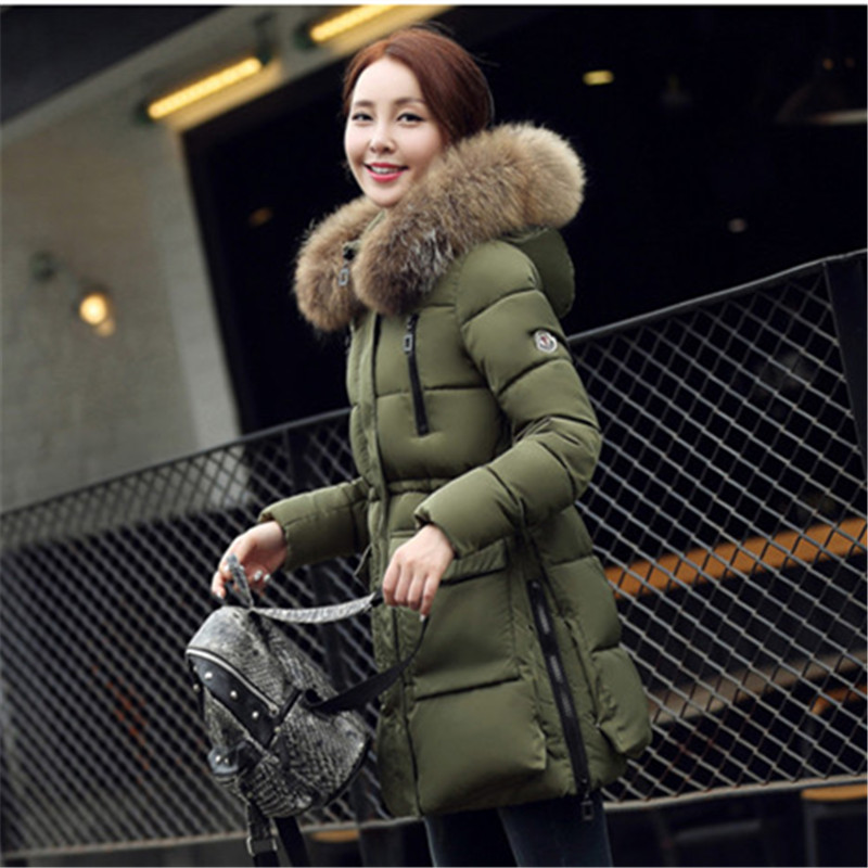 Winter Jackets Women New 2016 Coat Real Large Raccoon Fur Collar Hooded Long Warm Slim Thick Ladies Down Parka slim winter jackets women belt long down coat 2016 new fashion women s winter coat fur collar coats female thick warm parka y269