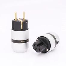 1pair Hi End Audio Aluminum Gold Plated Schuko Power Plug Connector+IEC Female Plug