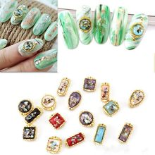 200pcs Retro Nail Crystal Gold Frame Shell Design Gems Rhinestone For 3D Art Decorations Charms 3374