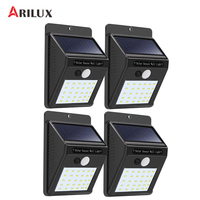ARILUX 4PCS Waterproof 30 LED Solar Panel Power PIR Motion Sensor Wall Lamp Security Wireless Path Yard Garden Fence Night Light