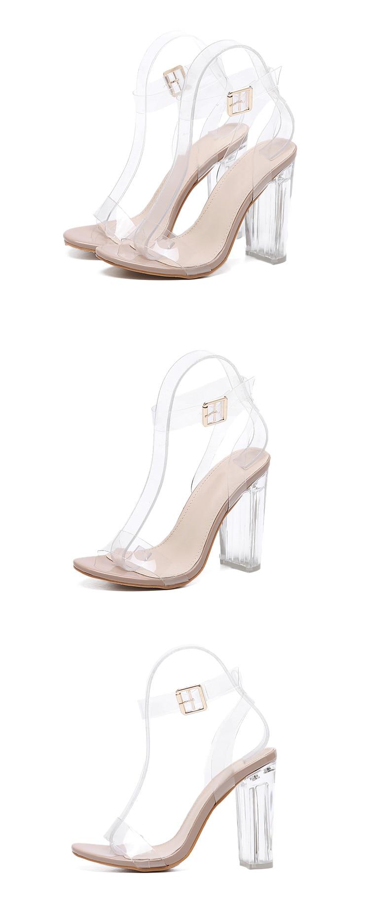 HTB1NGrXXjDpK1RjSZFrq6y78VXaX Eilyken 2019 New PVC Women Sandals Sexy Clear Transparent Ankle Strap High Heels Party Sandals Women Shoes Size 35-42