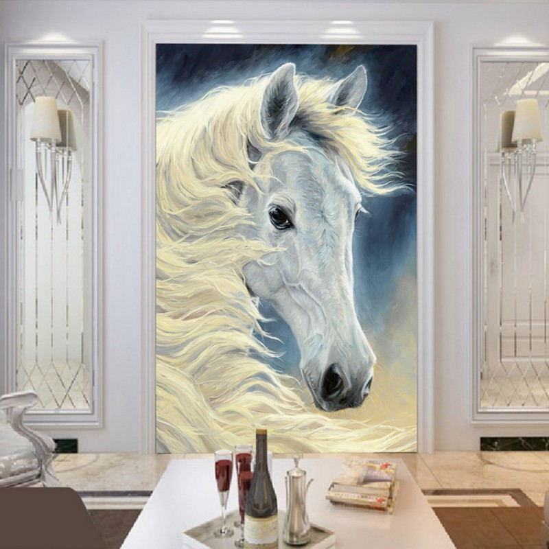 Custom photo wallpaper Wonderful Exquisite oil painting White horse Background Wall Murals home decorative Wallpaper iarts aha072962 hand painted thick texture of knife painting trees oil painting red 60 x 40cm