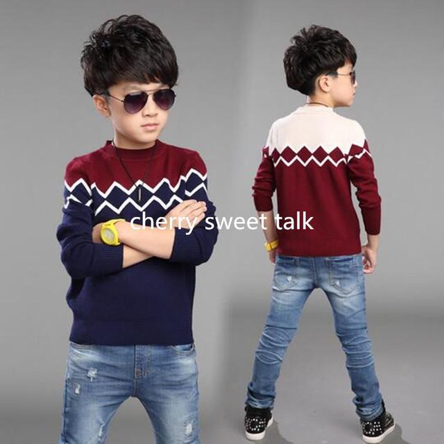 Blusas de algodão crianças roupas meninos na primavera, outono menino de tricô vestido de camisola adolescentes meninos em 42 anos