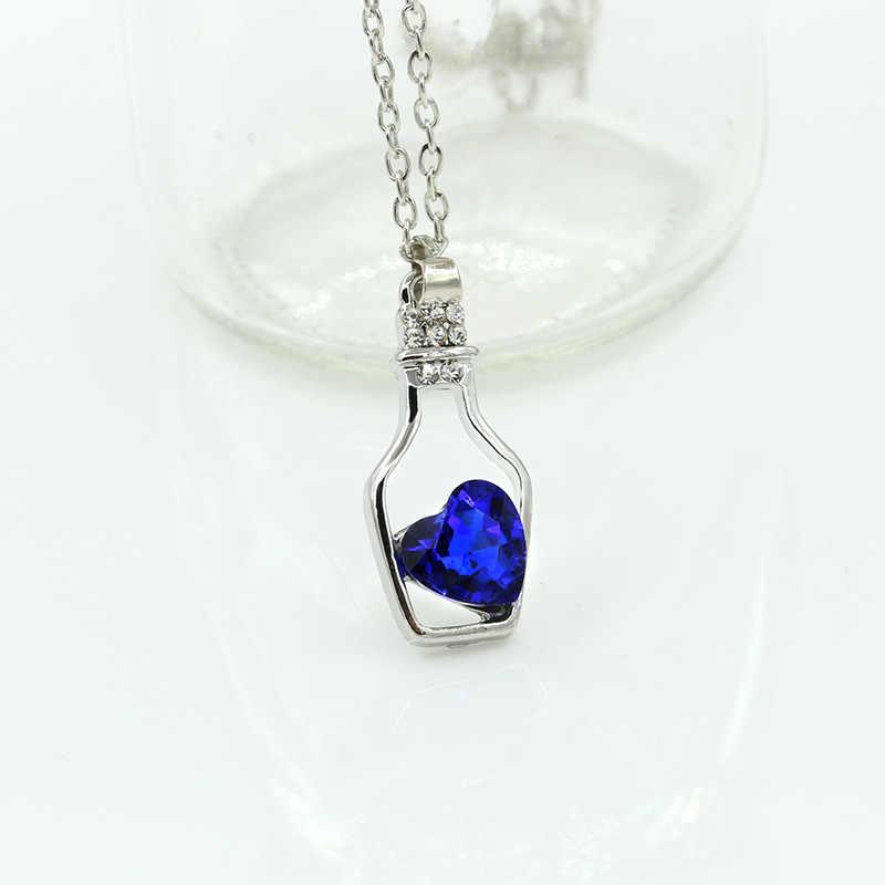 חמוד מבקשים בקבוק קסם תליוני לב אהבת גביש שרשראות חלולות תכשיטי זירקון יהלומים מלאכותיים אופנה נשים שרשרת עצם הבריח