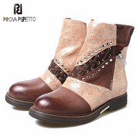Prova Perfetto Fashion Metal Decor Womens Motorcycle Boots Patchwork Genuine Leather Flat Ankle Boots Woman Winter Martin Boots