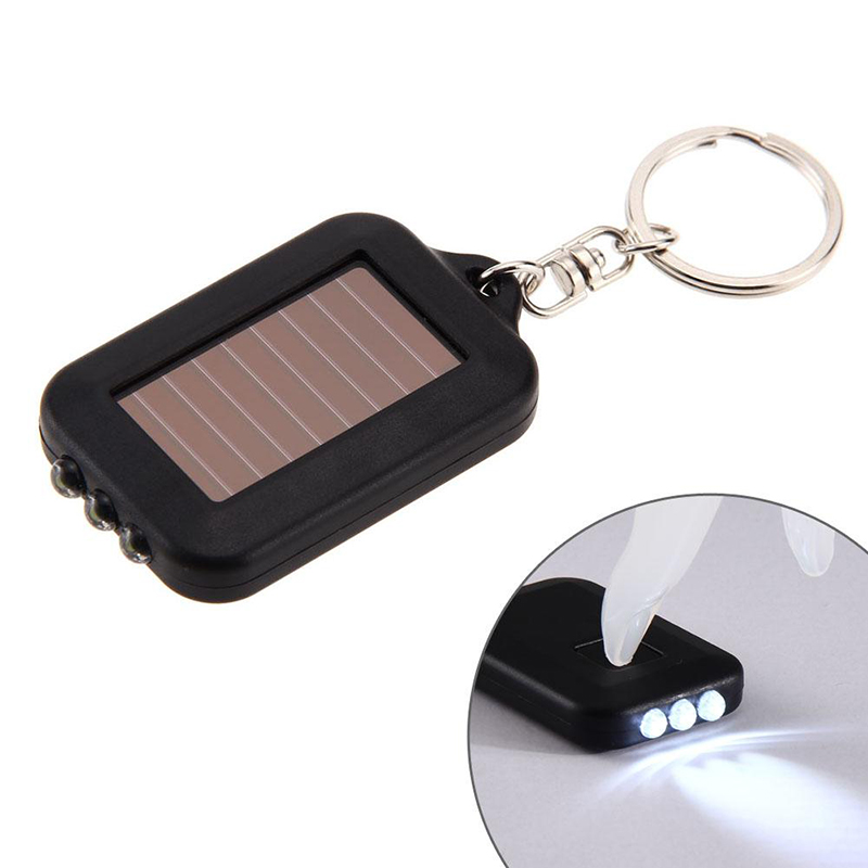 2019 Mini Portable Solar Power 3 LED Light Keychain Torch Camping Lamp Backpack Flashlight Lamps Keyring Outdoor Emergency Tools