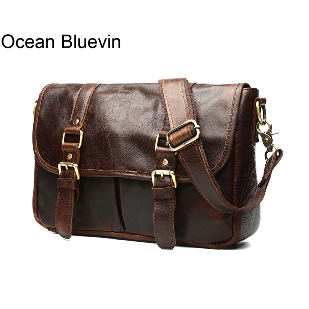 OCEAN BLUEVIN Genuine Leather Men Small Shoulder Bags Vintage Leather Messenger Crossbody Travel Bag Handbag for Men Male Bag