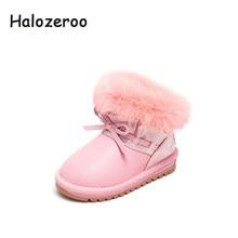 ead3d030c85b6e Halozeroo Hiver Nouveau Bébé Fille Rose Neige Bottes De Fourrure Enfant Arc Bottes  Enfants Pu En Cuir Chaud Chaussures De Mode D..