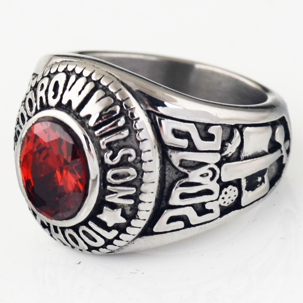 Sales Vintage Mens Red Cz Army Marine Military Ring,stainless Steel Silver  Ring,christmas
