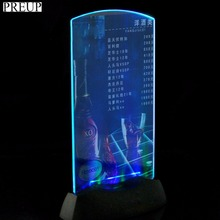 PREUP Acrylic Flashing Led Light Table Menu Holder Restaurant Card Display Holder Stand Popular New
