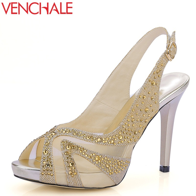 VENCHALE new fashion sexy solid color cow leather net yarn crystal thin heel platform back strap party summer women sandals venchale 2018 summer new fashion sandals wedges platform women shoes height heel 10 cm buckle strap casual cow leather sandals