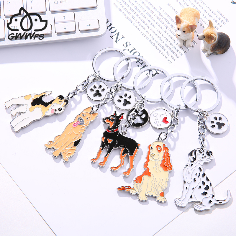 Bulldog francés colgante llaveros para mujeres hombres niñas color plata metal mascota perro coche llavero llavero bolso encanto llavero baratija