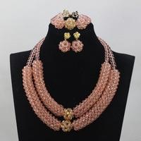Beautiful Baby Pink Choker Crystal Pendant Necklace Set African Beads Jewelry Set Wedding Gift Set Free Shipping QW667