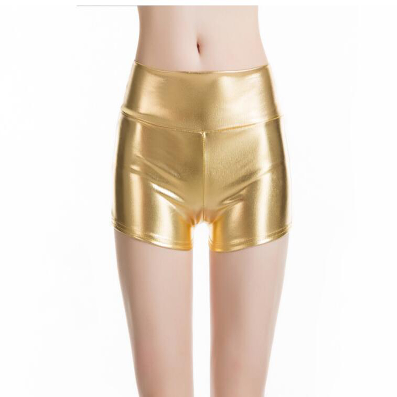 Shikoroleva Short Feminino Womens Short Faux Leather Summer Bermuda Vinyl Dance Shorts Spandex Gold Silver Short For Lady