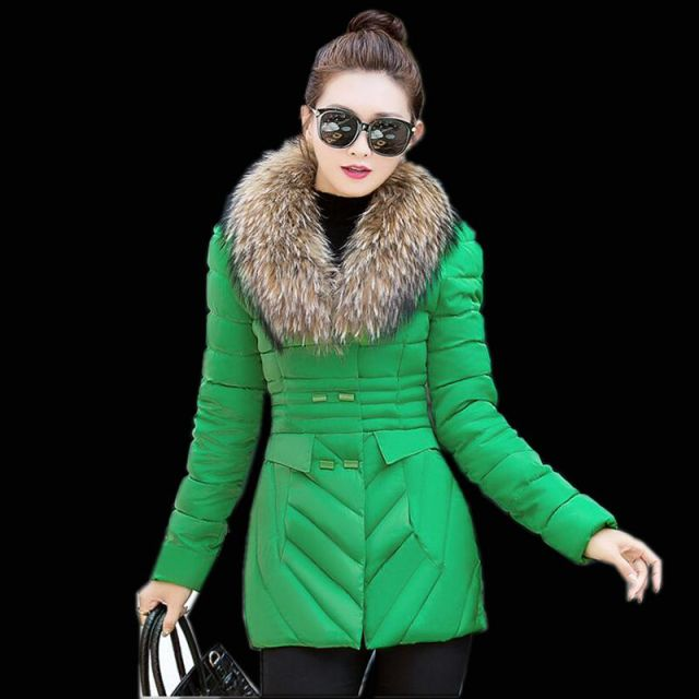 Korean style Winter New Fashion Women Down jacket Thickening Super warm Long sleeve Coat Medium long Slim Big yards Coat SJ1128