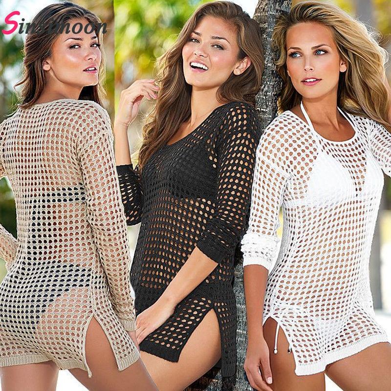 Women Sexy Mesh Crochet Beach Cove Up Swimsuit Swimwear Bathing Suit Beachwear Coverups Long Sleeve Robe de Plage Hollow Tunic