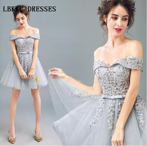 Grey   Cocktail     Dresses   Knee Length Tulle With Lace Robe   Cocktail   Vestido   Cocktail