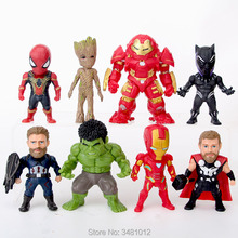 8pcs The Avengers 3 Thor Hulkbuster Superheroes Hulk PVC Action Figures Black Panther Figurines Dolls Kids Toys for Children