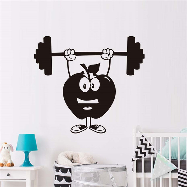 Fitness Wall Stickers Kids Bedroom Creative Apples With Crossbar - Vinyl wall decal adhesive