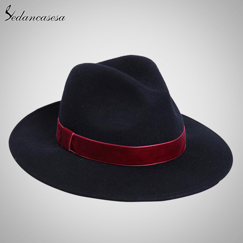 ac312319799 Sedancasesa Spring England Style Vintage Woman Mens Fedora Hat Felt Caps  With Red Band Wholesale Black Women Felt Hats FW141967-in Fedoras from  Apparel ...