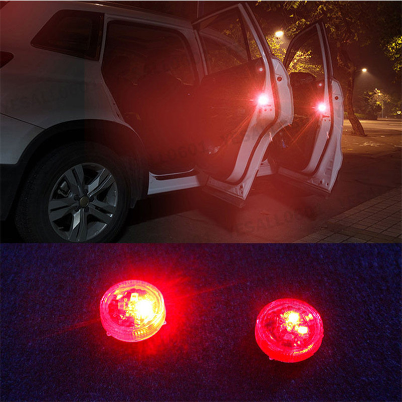 2x LED Car Truck Door Step Warning Light Anti Collision Strobe Lamp Wireless Kit 2017 safety car-styling car accessories lights