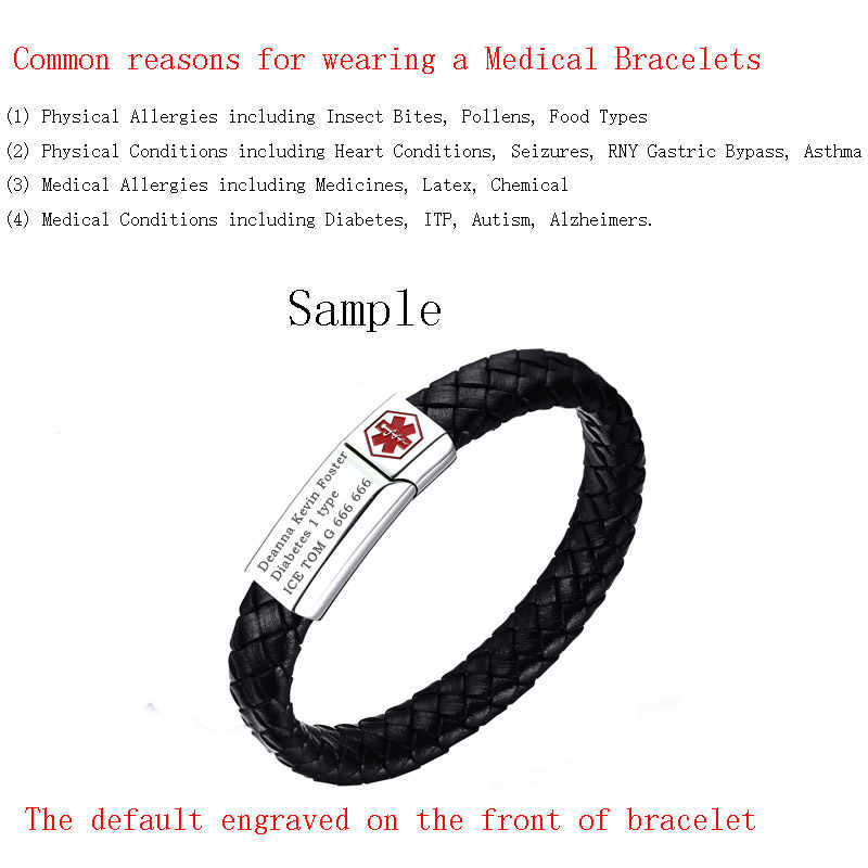Vnox Men's Sport Medical Alert Bracelet Free Engraving ID Tag Black Genuine  Leather 8 2 inches Diabetes