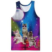Newest 3d Tank Tops Cute Cats Kitty Sloth Funny Design Galaxy Crop Tops Summer Cool Hip Hop Male Female Vest Unisex Tee Tops