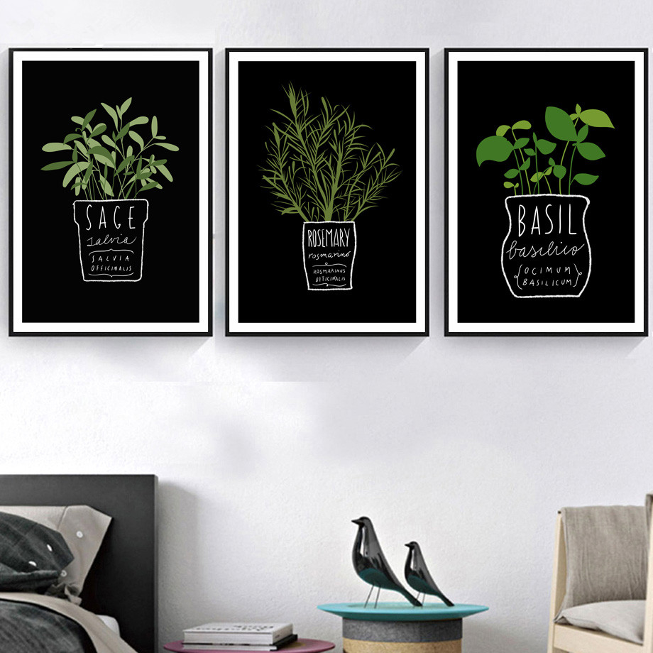 Framed Canvas Pictures Decor Kitchen Office Wall Potted Plant And Letters A4 Painting Art Printed Nordic Style Fashion Posters
