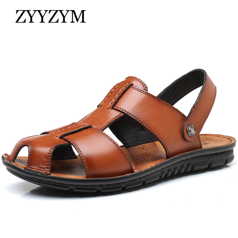 ZYYZYM Men Sandals 2019 Summer Pu Leather Fashion Trend Slipper Men Non-slip Casual Protect Men Summer Shoes Plus Size 38-46