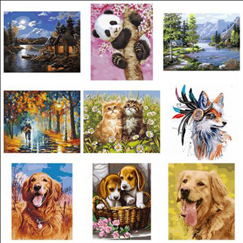 DIY Painting By Numbers Kits ,Acrylic Paint On Canvas Handpainted Oil Painting ,panada, dogs, cats , lovers,landscape