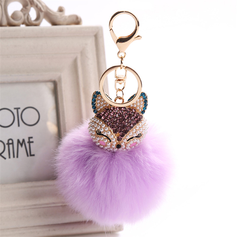 2017 New Artificial Rabbit Fur Ball Keychain Rhinestone Crystal Fox Head Pompon Trinket Key Chain Handbag Fluffy Key Ring Holder 4