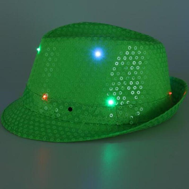7394305e632e9 2018 LED Flashing Fluorescence Sequins Jazz Hat Women Men Glowing ...