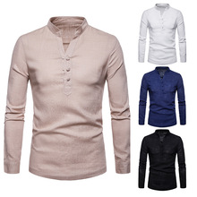 2019 Autumn Linen Long Sleeve Shirt Men Solid Stand Neck Casual Button Shirts Spring High Quality Top  Size S-XXL