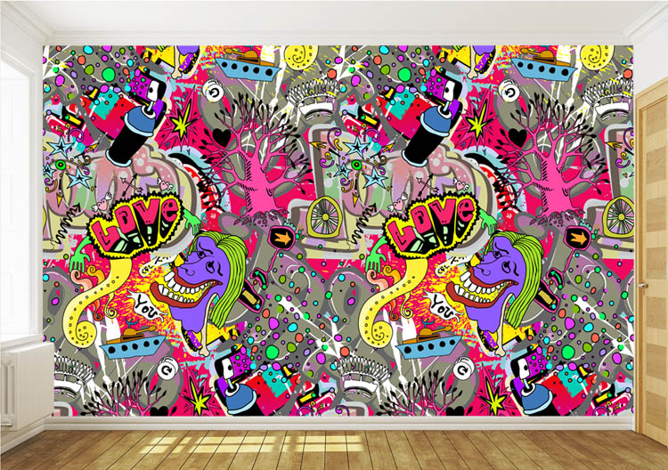 Graffiti Boys Urban Art Wallpaper 3D Photo Wallpaper Custom Wall Mural  Street Art Room Decor Kid Bedroom Hallway Halloween Decor In Wallpapers  From Home ... Part 20
