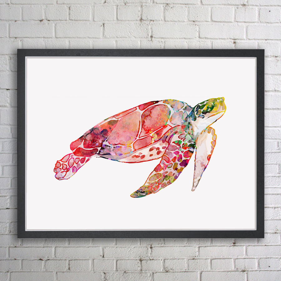 Sea Turtle Watercolor Art Print Home Decor Marine Animals Wall Art Poster Painting Animal Poster Pictures No Frame E254