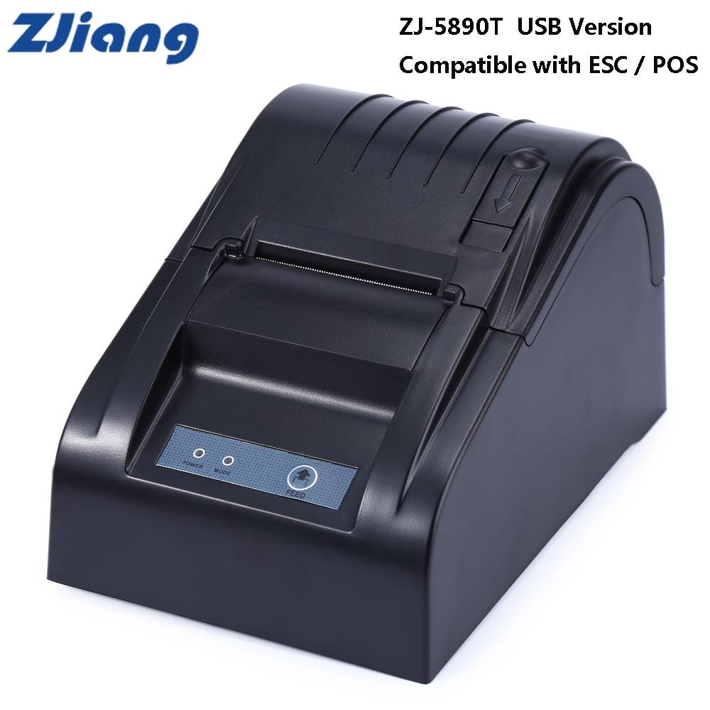 Original Zjiang ZJ-5890T 58mm 90mm/S USB Thermal Receipt Printer Supports 110V/220V ESC / POS Thermal Direct Line Printing new hot thermal printer 5890t supermarket takeaway intelligent bluetooth food and beverage printer 90mm s 57 5 0 5mm 220v