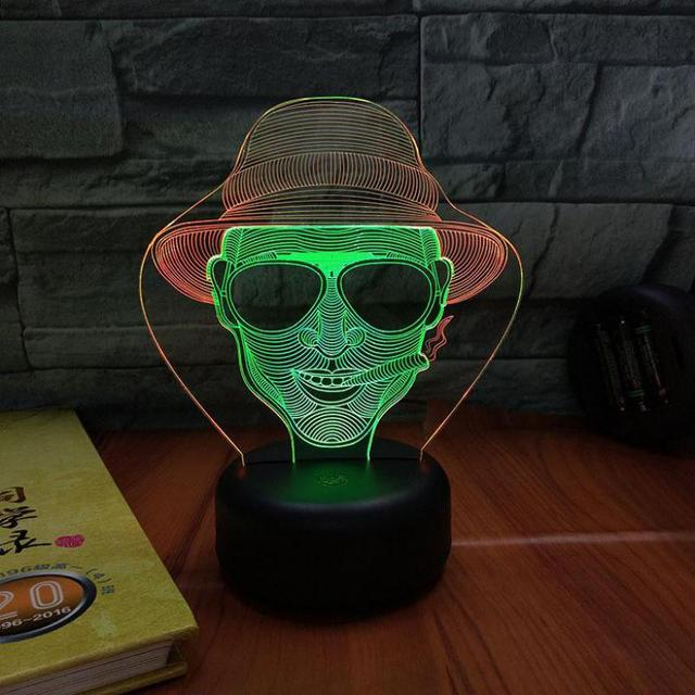 Smoking Cowboy 3d Visual Night Light Creative Seven Color Touch Charging Led Stereo Lamp Christmas decorations gift for baby