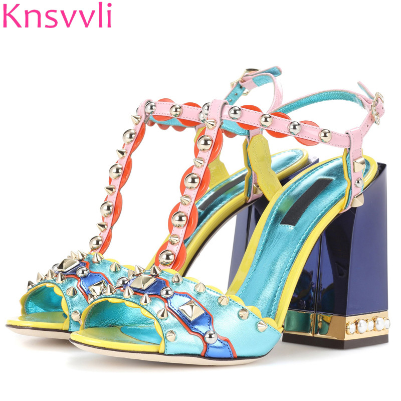 c4d2af4d78b4 Knsvvli new style summer mixed color square heel women sandals rivet metal one  word buckle inlay