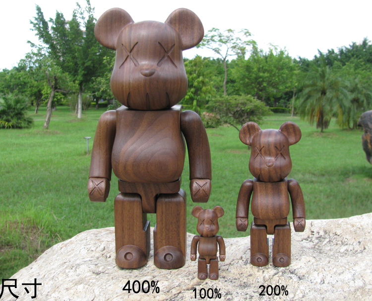 Quality Guaranteed Red Rose Wooden Kaws Bearbrick Be@rbrick MOMO Bear 400%(28cm) high quality oversize 52cm bearbrick be rbrick matt diy pvc action figure toys bearbrick blocks vinyl doll 3 color optional
