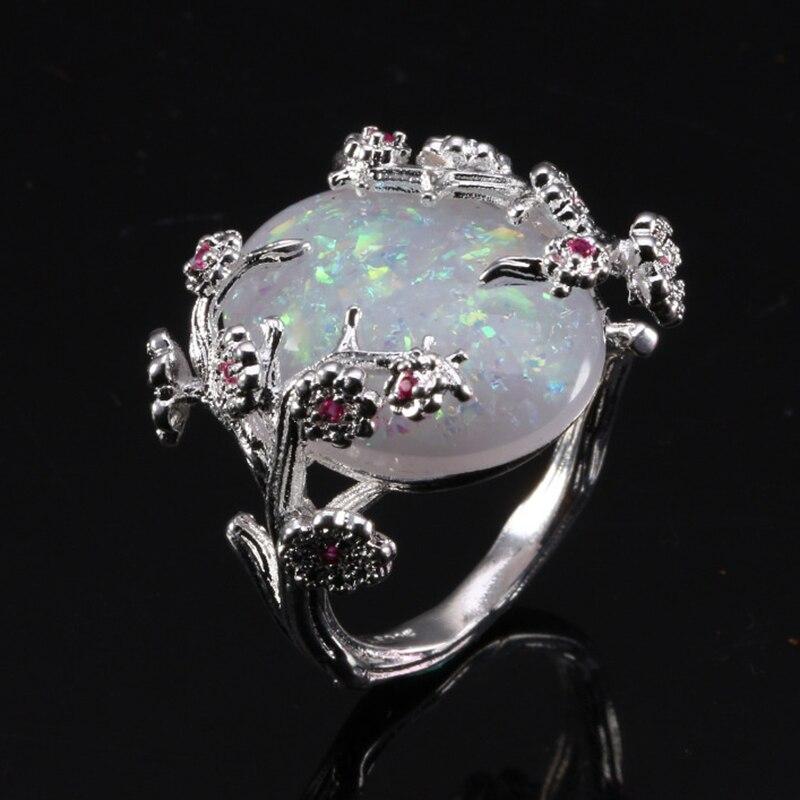 ZHIXUN New Fashion Flower Sliver Vintage Opal Ring for Woman Wedding - Նորաձև զարդեր - Լուսանկար 2