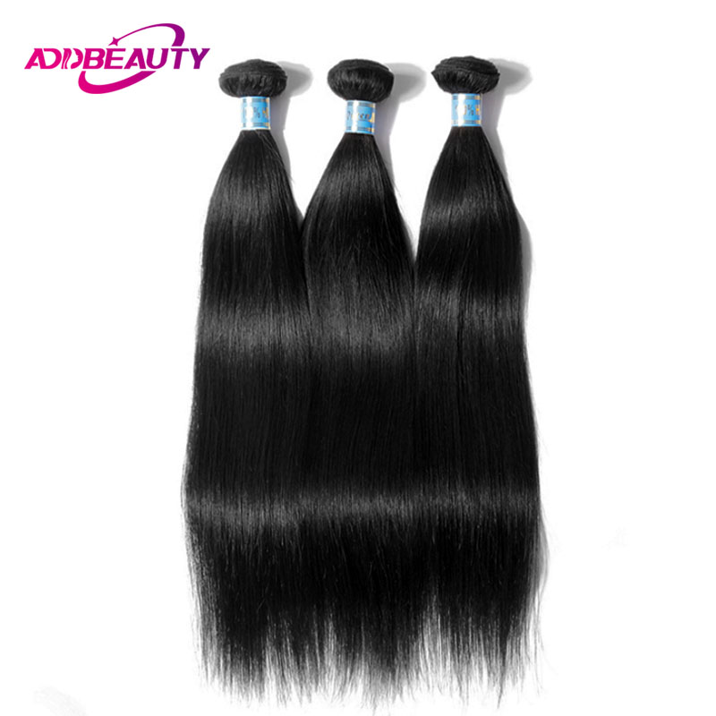 AddBeauty Straight Peruvian Unprocessed Virgin Human Hair Weave Bundle 1 Piece Natural Color For Black Women Salon Double Weft