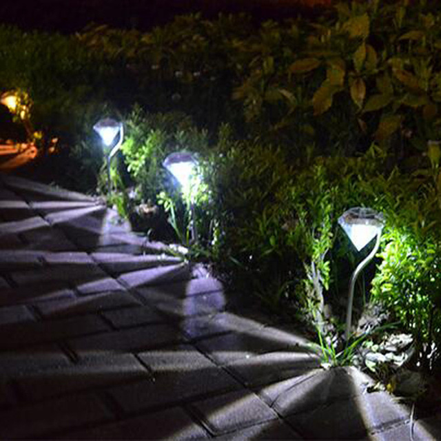 U-EASY 6 Pcs/ lot LED Solar Lawn Light Solar Powered Diamonds Lights Garden Pathway Landscape Stake Waterproof Lamps