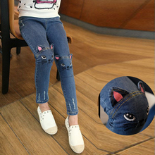 2017 Autumn children's clothing girls casual jeans cartoon winter big kids pencil pants child skinny trousers thickened leggings