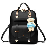 2016 Autumn Girls Fashion Leather Backpack With Kawaii Plush Bear Female Big Backpack School Bag Famous