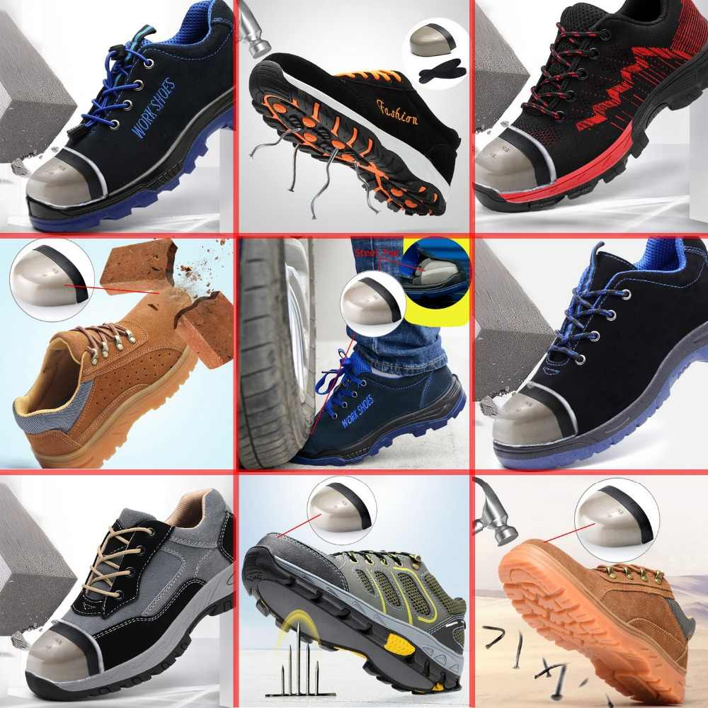 141e6c4b5a7 Men Work Safety Shoes Steel Toe Puncture Proof Midsole Slip Resistant Work  Boots Security Working Shoes